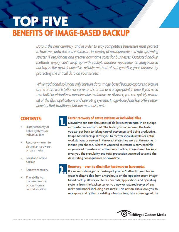 Ebook: Top Five Benefits of Image-Based Backup